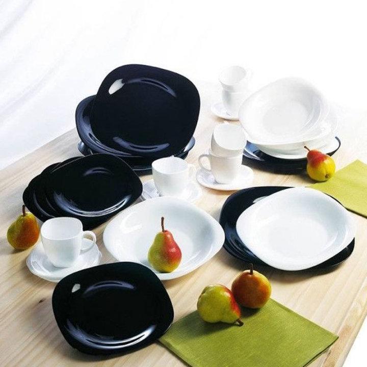30 dj.carine set za jelo crno bijeli