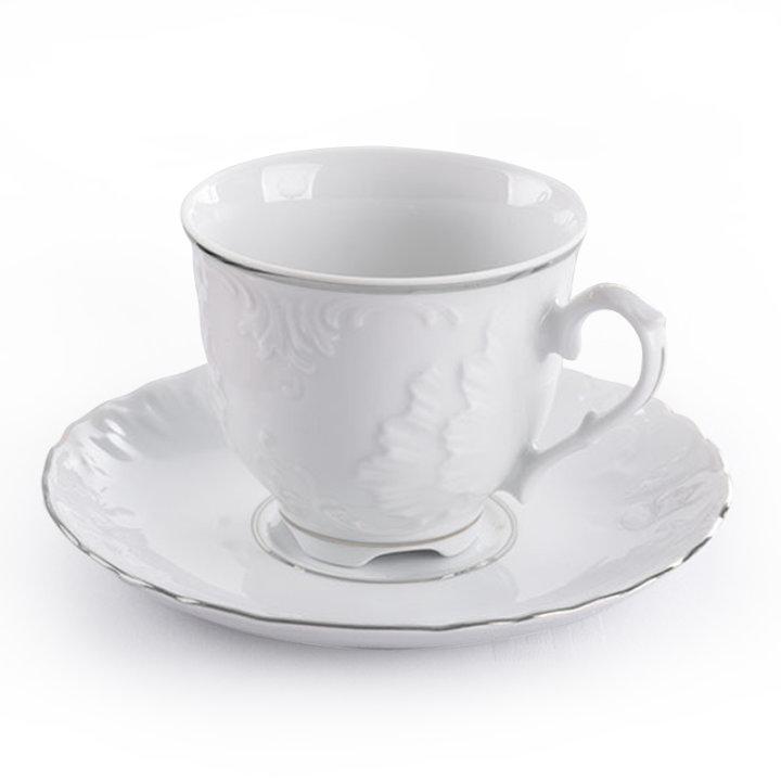 Šalice za kavu porculan 6/1 srebrni rub