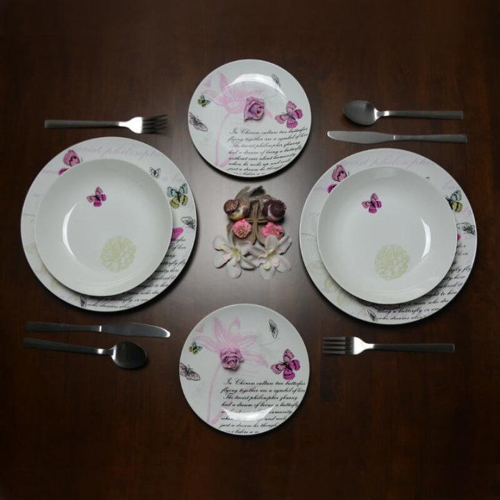 Servis za jelo 18 djelni - pink butterfly brunchfield