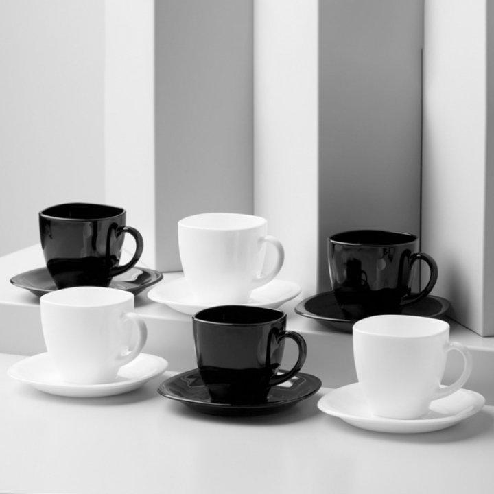 Šalice za kavu 22 cl, set 6/1 Carine crno-bijele