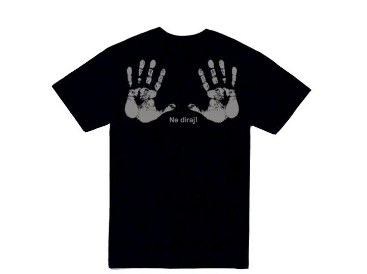 MAJICA SA ŠALJIVIM NATPISOM Ne diraj  (ruke) L - crna