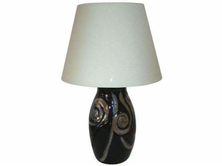 Noćna lampica keramika ručni rad crna