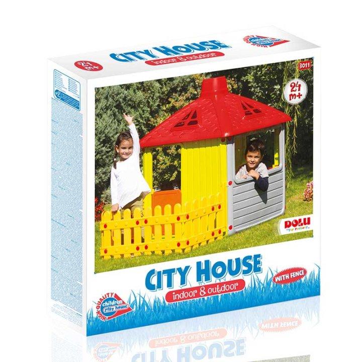 KUĆICA ZA IGRU SA OGRADOM - CITY HOUSE 132x158x104 CM