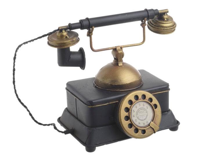KASICA DEKORATIVNA - TELEFON METALNI CRNO-ZLATNI 20x13x17 CM