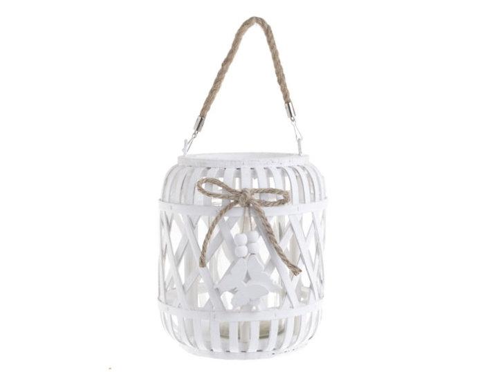 Stakleni svijećnjak bijela lanterna