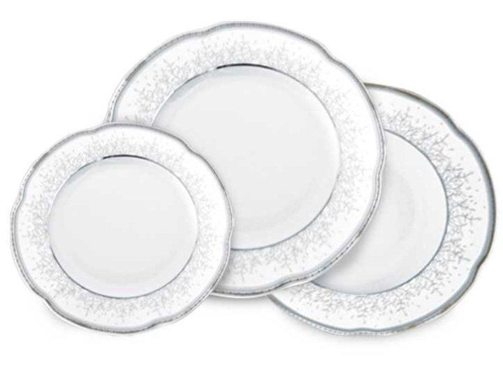 Servis za jelo porculan 18 dijelni Bolero - srebrni dekor sjaj-mat