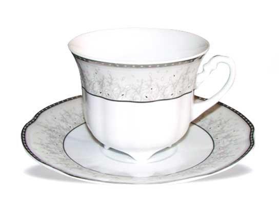 Porculanske šalice za kavu s tanjurićima srebrni rub