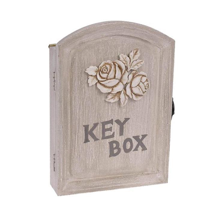 Ormarić za ključeve drveni, bež-bijela boja s dekoracijom ruže