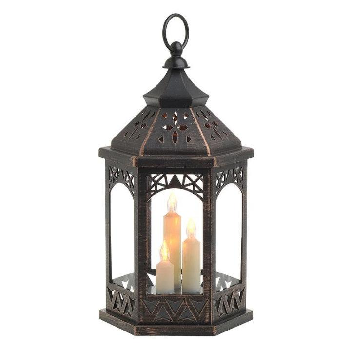 Dekorativna lanterna s led svijećama, na baterije - zlatno-crna