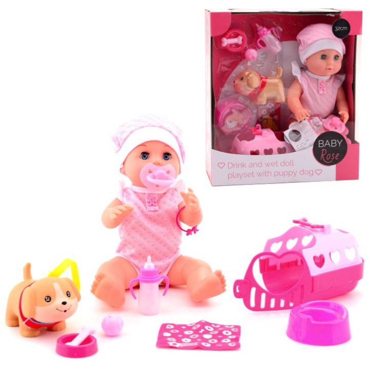 Lutka dojenče 32 cm s psićem i priborom - Baby Rose