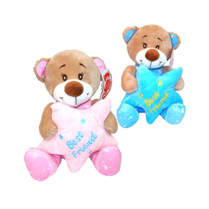 Plišasti medvedek z zvezdo 25 cm - rožnati / modri