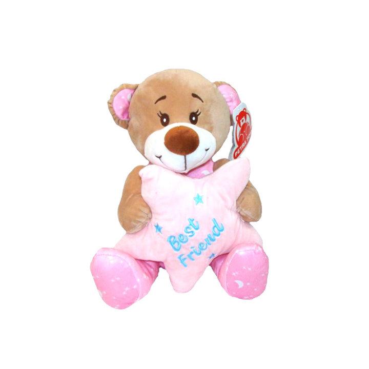 Plišasti medvedek z zvezdo 25 cm - rožnati