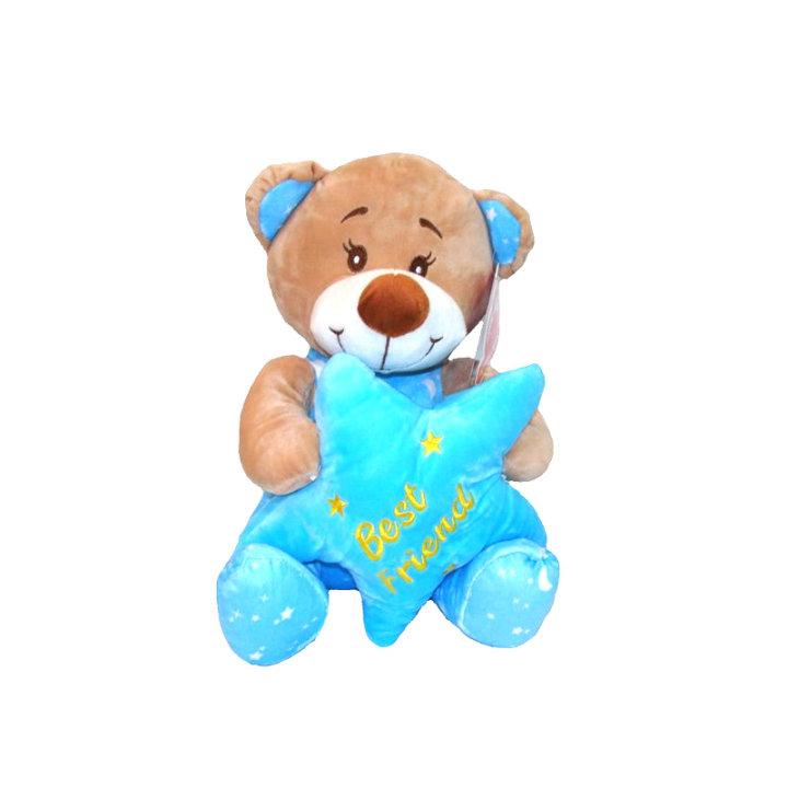 Plišasti medvedek z zvezdo 25 cm - modri