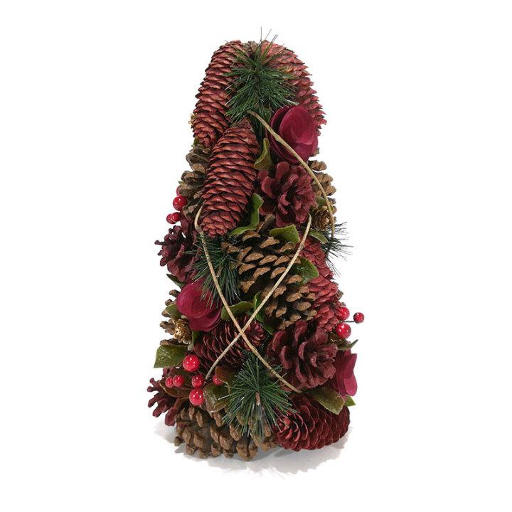 Borić božićni sa češerima i suhim cvijećem 35 cm - smeđe-crveni