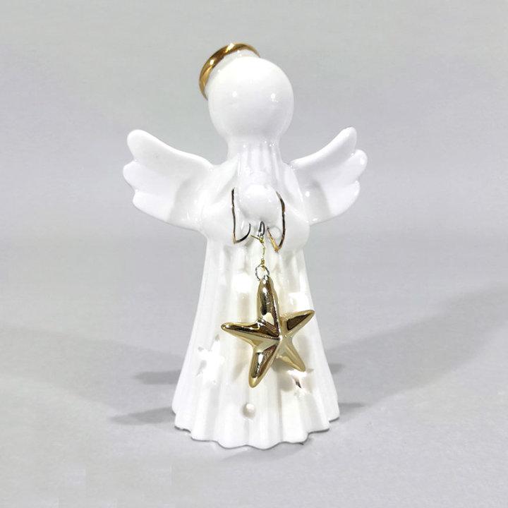 Anđeo figura stilizirana, keramička sa svjetlom i zvijezdom 12 cm
