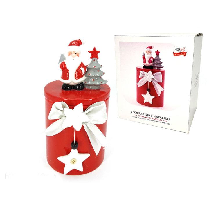 Posudica s poklopcem keramička božićna 12x25 cm - crvena