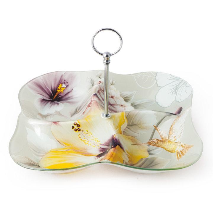 Stakleni dekorirani tanjur s drškom i pregradama cvjetni 30 cm