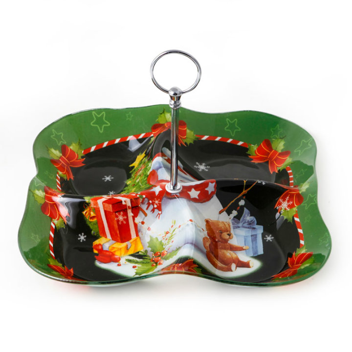 Stakleni dekorirani tanjur s drškom i pregradama božićni 30 cm