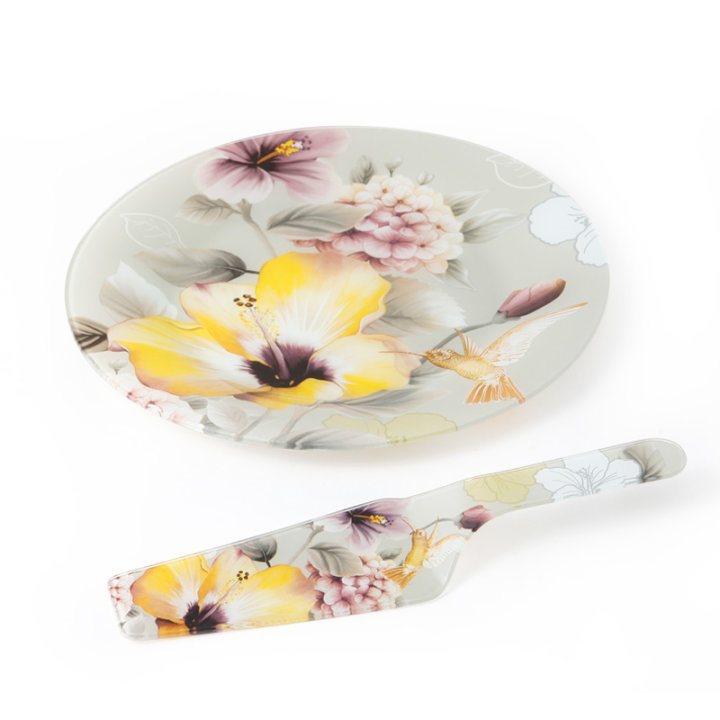 Stakleni dekorirani tanjur cvjetni s lopaticom za serviranje 27,5 cm