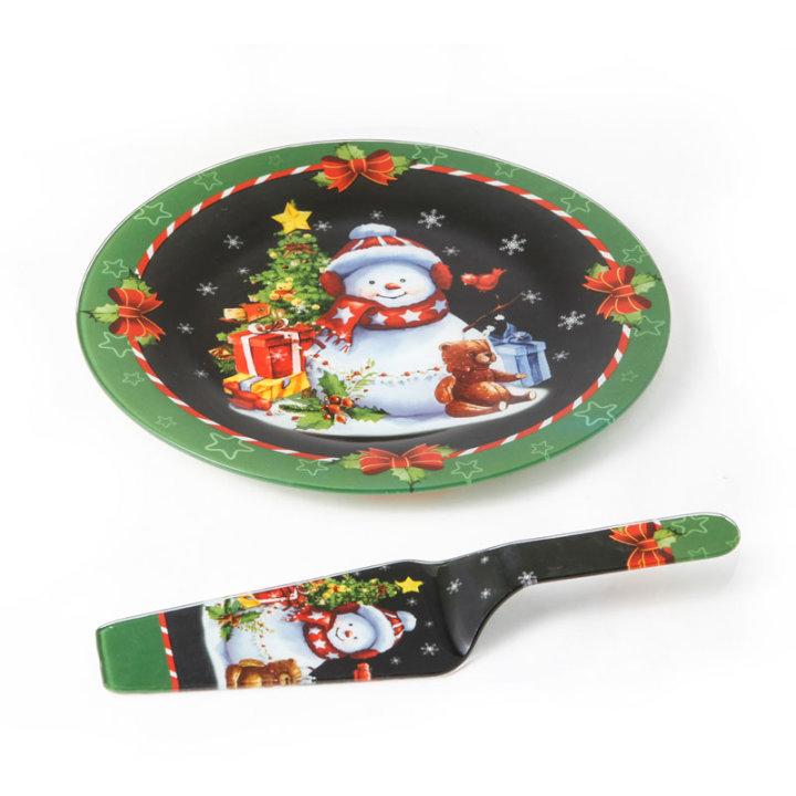 Stakleni dekorirani tanjur božićni s lopaticom za serviranje 27,5 cm