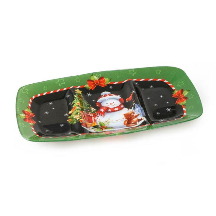 Stakleni dekorirani tanjur s pregradama božićni 35 cm