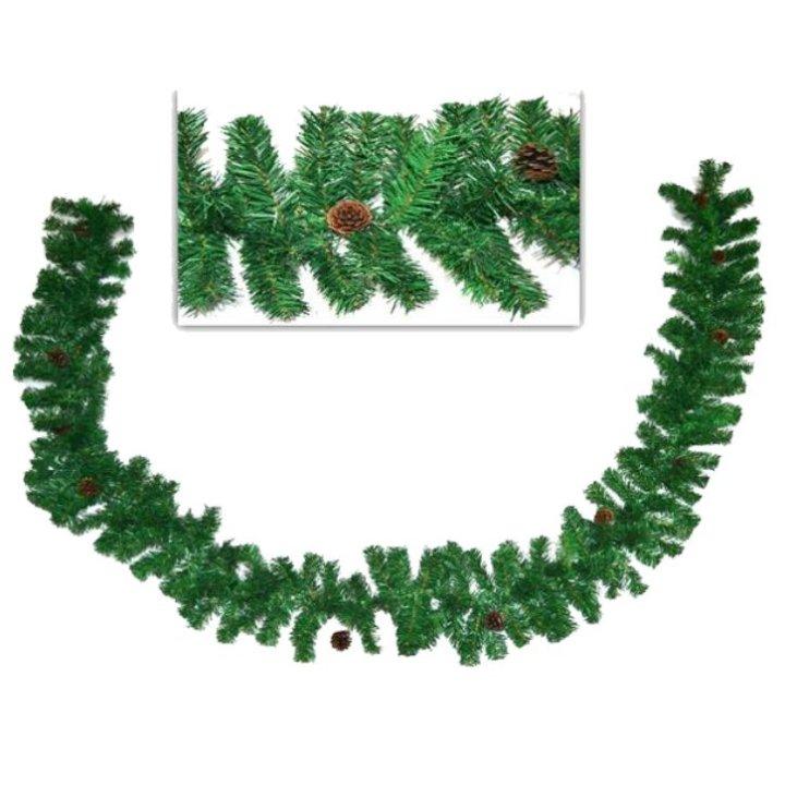 Girlanda zelena 300 cm s češerima