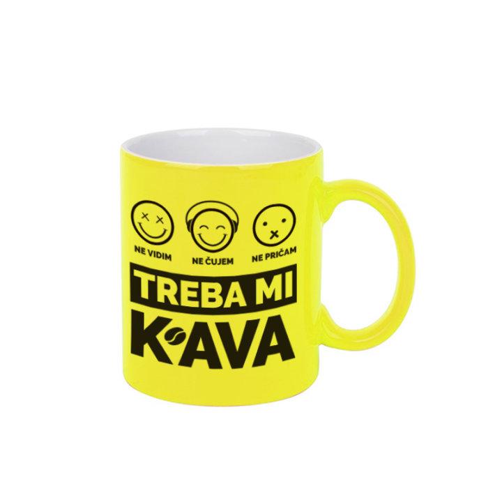 ŠALICA KERAMIČKA S TISKOM NEON ŽUTA - Treba mi kava