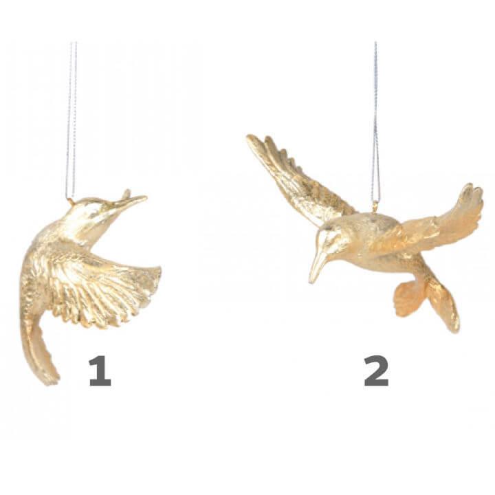 ptica dekoracija viseća zlatno-srebrna s gliterima