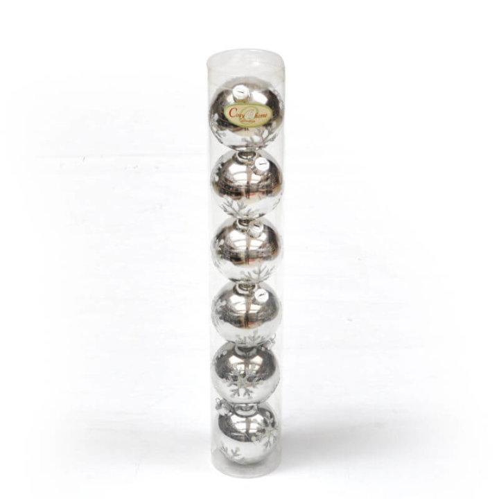kugle za bor ( 6 cm 6/1 ) ili ( 4,5 cm 8/1 ) srebrne s dekorom u cilindru
