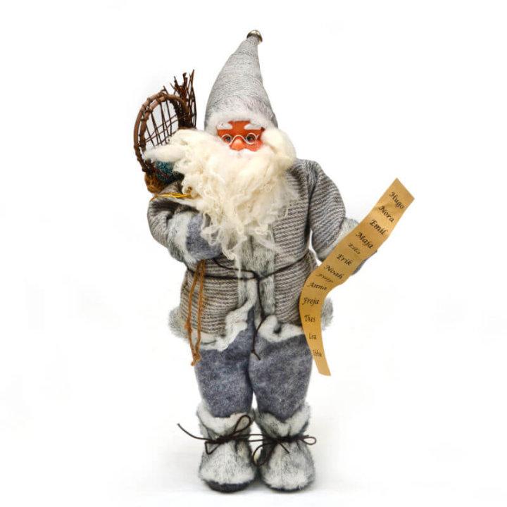 božićnjak sivi s vrećom i popisom 50 cm