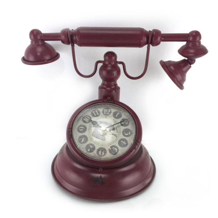 SAT STOLNI METALNI TELEFON - BOJA CIGLE 30x18,5x25 CM