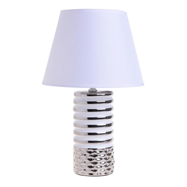 LAMPICA NOĆNA KERAMIČKA SREBRNO-BIJELA 40x25 CM
