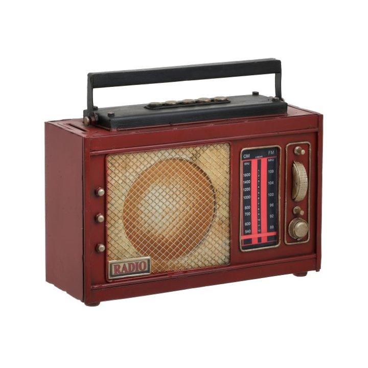 KASICA DEKORATIVNA - RADIO METALNI SMEĐI 23x9x19 CM